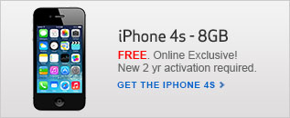 Free iPhone 4s. Online exclusive. New 2 year activation required.