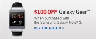 $100 Off Galaxy Gear when purchased with the Samsung Galaxy Note 3.