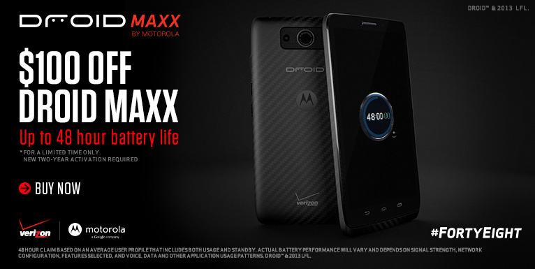 Get $100 off a Droid Maxx, plus free shipping. New 2 year activation required.
