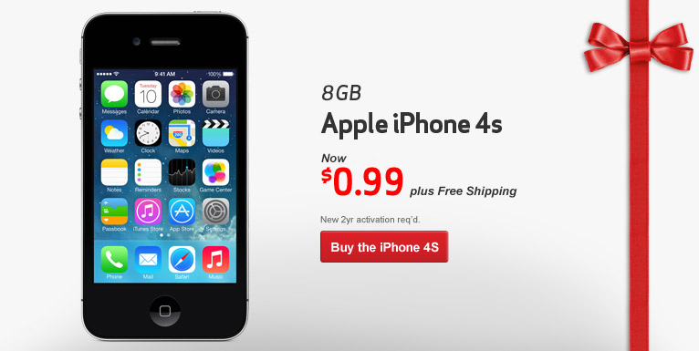 $0.99 iPhone 4S- 8 GB. Free Shipping! New 2 year activation required.