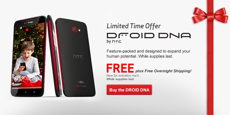 Free DROID DNA. Free plus Free Shipping! New 2 year activation required.