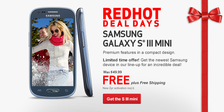 Free Galaxy S III Mini. New 2 year activation required.