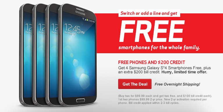 Buy one Samsung Galaxy S4, get one free.