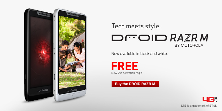 Free Droid RAZR M by Motorola. Now available in blue, black and white. New 2 year activation required.