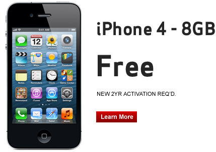 iPhone 4 - 8GB. Free, new 2 year activation required. Click to Learn More.