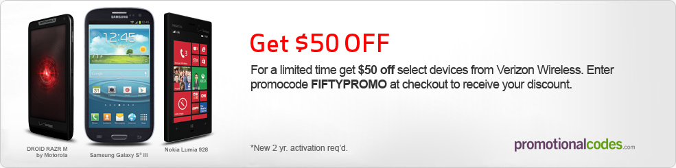 $50 OFF Select Devices from Verizon Wireless